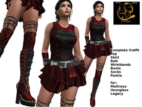 [ RG] Love in Red Outfit -Boots-Top-Skirt-Pantie-Socks-Be (Box)