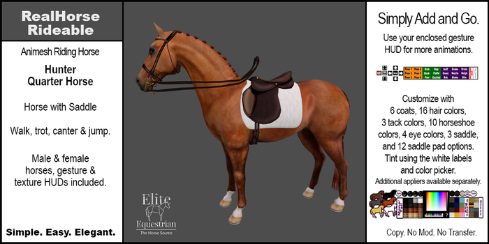 *E* RealHorse Animesh Rideable Horse - Quarter Horse Hunter [Add & Click]