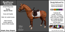*E* RealHorse Rideable - Quarter Horse Hunter [Add & Click]