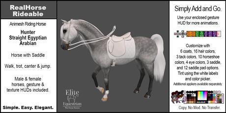 *E* RealHorse Animesh Rideable Horse - Arabian Hunter [Add & Click]