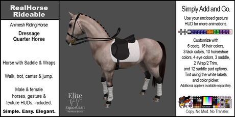 *E* RealHorse Animesh Rideable Horse - Quarter Horse Dressage  [Add & Click]