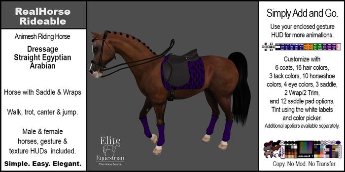 *E* RealHorse Animesh Rideable Horse - Arabian Dressage [Add & Click]