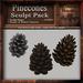 Pinecones 1st Ed. Sculpt Pack, Sculpted Winter/Snow Pinecones, 3 Sculpty Maps & 8 Textures Full Perms