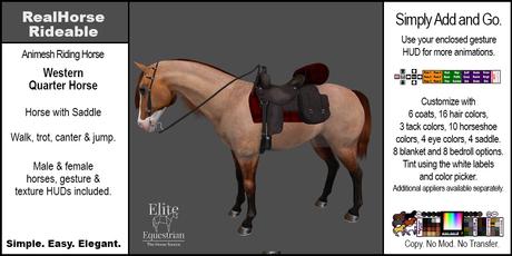 *E* RealHorse Animesh Rideable Horse - Quarter Horse Western  [Add & Click]