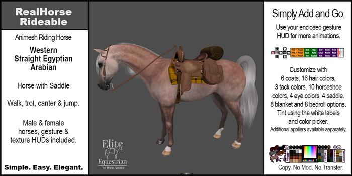 *E* RealHorse Animesh Rideable Horse - Arabian Western [Add & Click]