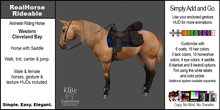 *E* RealHorse Animesh Rideable Horse  - Cleveland Bay Western  [Add & Click]