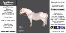 *E* RealHorse Animesh Rideable Horse - Shetland  Pony Unicorn  [Add & Click] XS/S