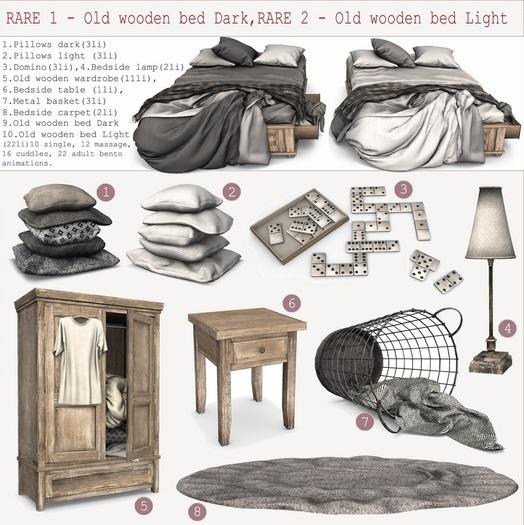 #9 K&S - // Old wooden bed Dark RARE 1