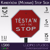Mohawk Stop Sign (Set) by Lupinia Studios and Krazy NDN I.N.C. - 100% Mesh, 15 Versions