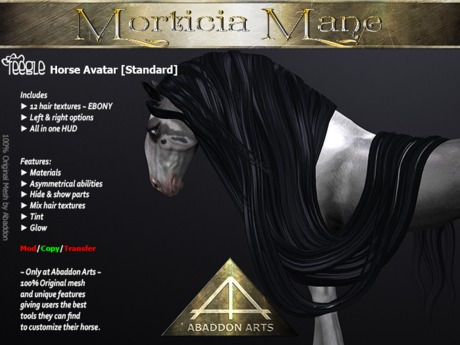 ABADDON ARTS - Morticia Mane S~EBONY [TH AV Standard]