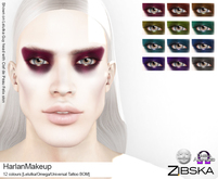 Zibska ~ Harlan Makeup in 12 colors with Lelutka, Omega and Universal Tattoo BOM layers