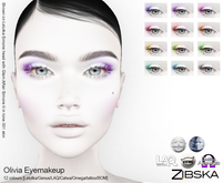 Zibska ~ Olivia Eyemakeup in 12 colors with Lelutka, Genus, LAQ, Catwa and Omega appliers and Universal Tattoo