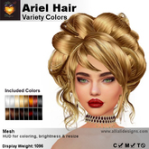 A&A Ariel Hair Variety Colors V2, lush low complexity mesh updo style