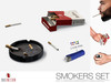 Smokers Set - (Ash Tray, Cigarette, Pack of Cigs, Lighter)