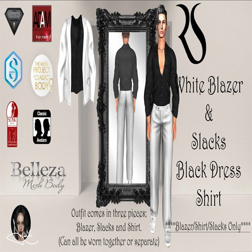 White Blazer + Slack w/Black Dress Shirt