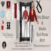 White Blazer + Slack w/Red Dress Shirt