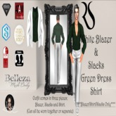 White Blazer + Slack w/Green Dress Shirt