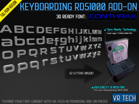 VR-TECH Conthrax FONT ADD-ON For Keyboarding RD51000 FULL PERM WORD CREATOR!
