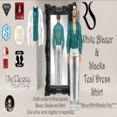 White Blazer + Slack w/Teal Dress Shirt