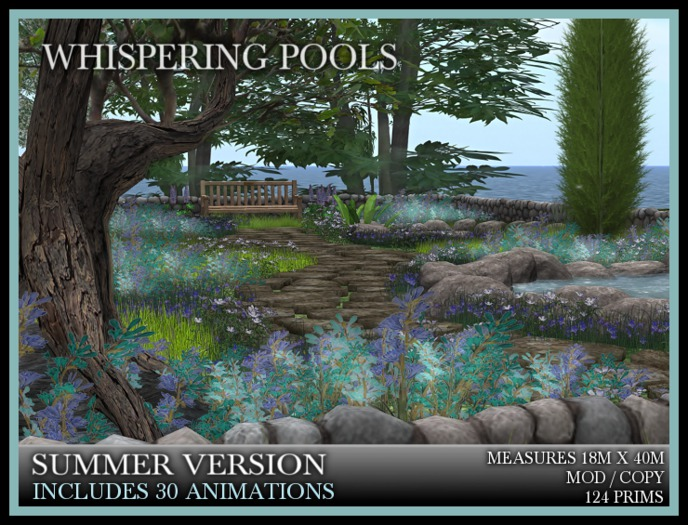 TMG - WHISPERING POOLS* Landscaped Garden with 3 pools and a stone wall.