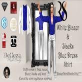 White Blazer + Slack w/Royal Blue Dress Shirt