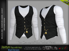 JAXTYN MALE BLACK SINGLE COLOR TOP WITH VEST, MESH - SIGNATURE GIANNI, LEGACY, BELLEZA JAKE - FashionNatic