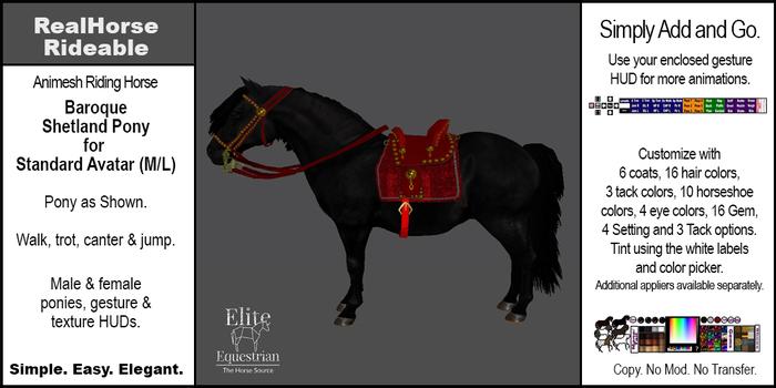 *E* RealHorse Animesh Rideable Horse - Shetland  Pony Baroque [Add & Click] M/L