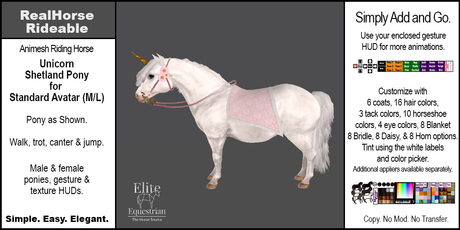*E* RealHorse Animesh Rideable Horse - Shetland  Pony Unicorn [Add & Click] M/L
