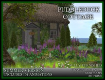 TMG - PUDDLEDUCK COTTAGE* ENGLISH THATCHED COTTAGE with animated ducks and birds. 154 Animations