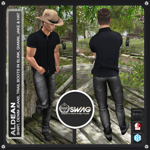 [RnR] Swag Aldean Cowboy & Country Western Outfit with Vest, Denim Jeans, Boots, Cowboy Hat, Gianni, Slink & Jake