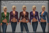 Spring Jackets with Matching Plaid Jeans Sets Templates - FULL PERMS