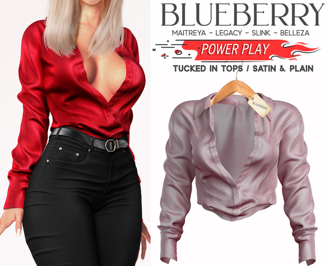Blueberry - Power Play - Tucked In Tops - Soft Pink
