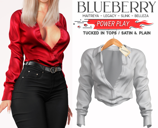 Blueberry - Power Play - Tucked In Tops - White