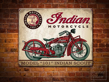 INDIAN MOTORCYCLE 101 SCOUT Antique Rusty Metal Sign Garage Poster