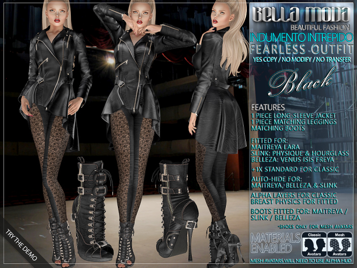 Bella Moda: Indumento Intrepido Black Fearless Outfit for Maitreya/Physique/Hourglass/Isis/Venus/Freya+Classic - FULL