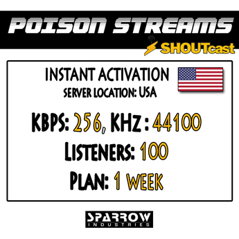 "SSC ""Shoutcast"" ""US"" (256, 44100, 100 Listeners) 7 Day(s)"