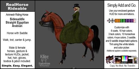 *E* RealHorse Animesh Rideable Horse - Arabian Sidesaddle [Add & Click]