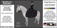 *E* RealHorse Rideable Cleveland Bay Sidesaddle  [Add & Click]
