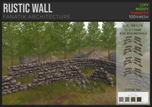 :FANATIK: RUSTIC WALL – texture change stone wall building kit (mesh with materials)