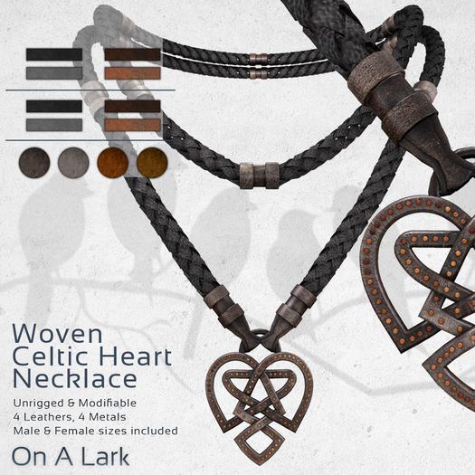 *OAL* Woven Necklace ~ Celtic Heart