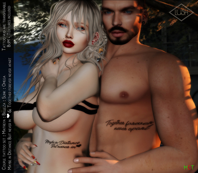Lush - Together - Tattoo His & Hers- Transferable / BOM, Maitreya, Belleza, Omega, Slink