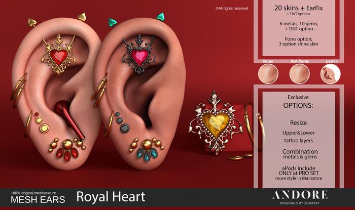 :ANDORE: - :Mesh Ears: - Royal Heart [PRO]