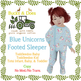 [Bucks & Does] Blue Unicorns Footed Sleeper