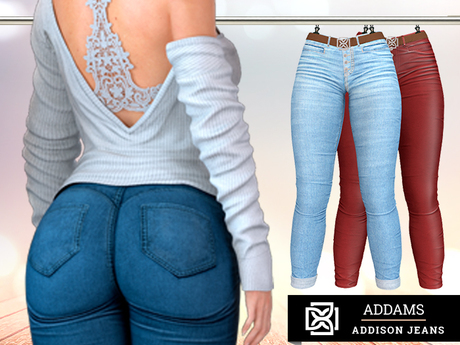 Addams - Addison - Jeans & Leather Pants with Belt #34