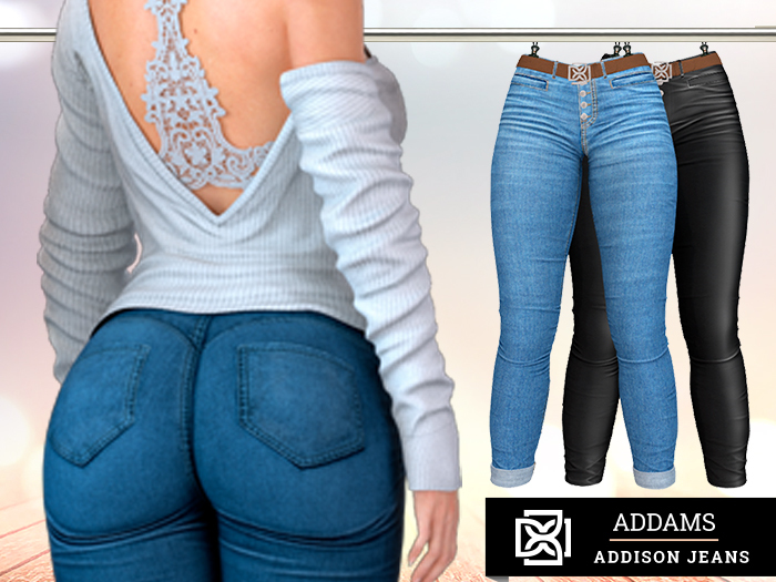 Addams - Addison - Jeans & Leather Pants with Belt #36