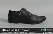{COLD-ASH} Mens MONK Buckle Shoes (SingleColor-Black)