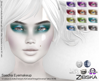 Zibska ~ Sascha Eyemakeup in 12 colors with Lelutka, Genus, LAQ, Catwa and Omega appliers and Universal Tattoo/BOM l