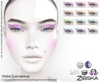 Zibska [50L ~ Vitalia Eyemakeup in 12 colors with Lelutka, Genus, LAQ, Catwa and Omega appliers and Universal Tattoo/BOM