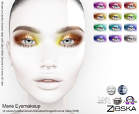 Zibska ~ Marie Eyemakeup in 12 colors with Lelutka, Genus, LAQ, Catwa and Omega appliers and Universal Tattoo/BOM