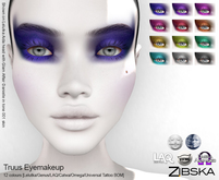 Zibska ~ Truus Makeup in 12 colors with Lelutka, Genus, LAQ, Catwa and Omega appliers and Universal Tattoo/BOM
